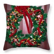 Candy Christmas Wreath Throw Pillow