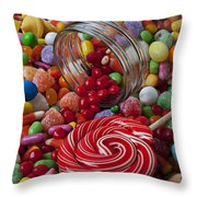 Candy Jar Spilling Candy Throw Pillow