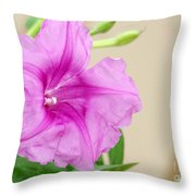 Candy Pink Morning Glory Flower Throw Pillow