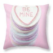 Candy With Be Mine Written On It Throw Pillow