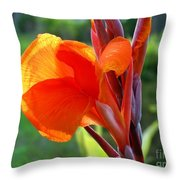 Canna Flower Throw Pillow