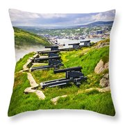 Cannons On Signal Hill Near St. John's Throw Pillow by Elena Elisseeva