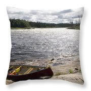 Canoe Pulled Up On The Shore Throw Pillow