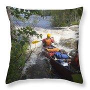 Canoeists Run A Rapid On The Winisk Throw Pillow