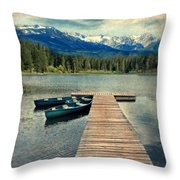 Canoes At Dock On Mountain Lake Throw Pillow by Jill Battaglia
