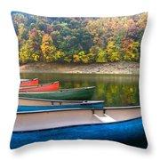 Canoes At Fontana Throw Pillow