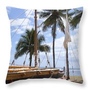Canoes At Hui O Waa Lahaina Maui Hawaii Throw Pillow