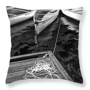 Canoes Docked At Lost Lake Throw Pillow