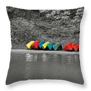 Canoes In A Row Throw Pillow