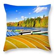 Canoes On Autumn Lake Throw Pillow