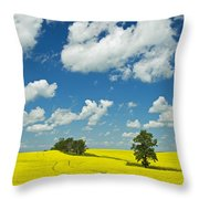 Canola Field And Clouds, Rathwell Throw Pillow