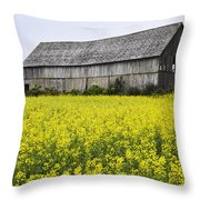 Canola Field And Old Barn Throw Pillow