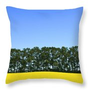 Canola Field And Trees Throw Pillow