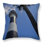 Cape Canaveral Lighthouse With Palm Tree Throw Pillow