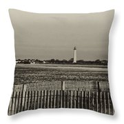 Cape May Light House In Sepia Throw Pillow