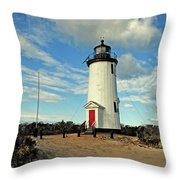 Cape Pogue Lighthouse Marthas Vineyard Throw Pillow