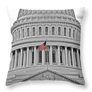 Capitol With Flag Throw Pillow