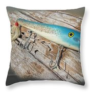 Cap'n Bill Swimmer Vintage Saltwater Fishing Lure Throw Pillow