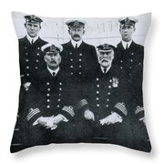 Captain And Officers Of The Titanic Throw Pillow