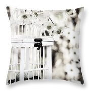 Captured Spring In Black And White Throw Pillow