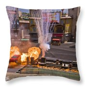 Car And Explosions At Disney Hollywood Throw Pillow