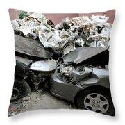 Car Crash In Cairo Throw Pillow