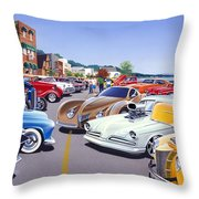 Car Show By The Lake Throw Pillow