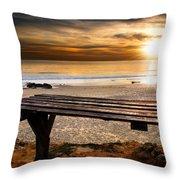 Carcavelos Beach Throw Pillow