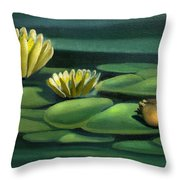 Card Of Frog With Lily Pad Flowers Throw Pillow