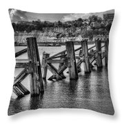 Cardiff Bay Old Jetty Supports Mono Throw Pillow