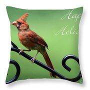 Cardinal Holiday Card Throw Pillow