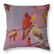 Cardinals In Falls Throw Pillow