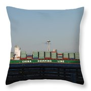 Cargo Ship In Seattle Throw Pillow