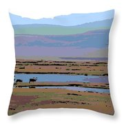 Caribou On The Move Throw Pillow