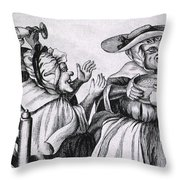 Caricature Of Three Alcoholics, 1773 Throw Pillow