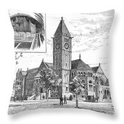 Carnegie Library, 1890 Throw Pillow