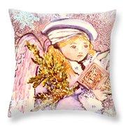 Caroling Angel Throw Pillow