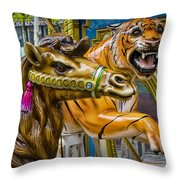 Carousal Camel And Tiger On A Merry-go-round Throw Pillow