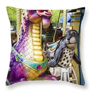 Carousal Dragon And Seal On A Merry-go-round Throw Pillow