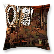 Carousel At Night Throw Pillow