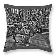 Carousel  Black And White Throw Pillow