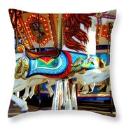Carousel Horse With Fish Throw Pillow