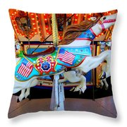 Carousel Horse With Flags Throw Pillow