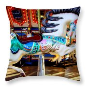 Carousel Horse With Leaves Throw Pillow