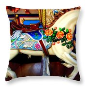 Carousel Horse With Roses Throw Pillow