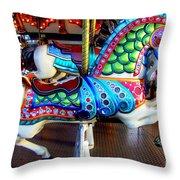 Carousel Horse With Sea Motif Throw Pillow