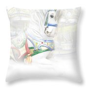 Carousel White Horse In A Child's World Throw Pillow