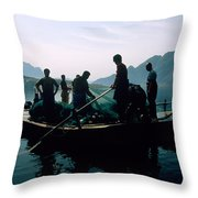 Carp Fishermen In Lake Formed By A Dam Throw Pillow