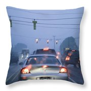 Cars And Traffic Lights In A Rain Storm Throw Pillow