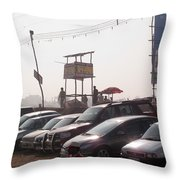 Cars In A Parking Lot At Surajkund Throw Pillow